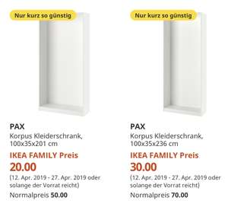 (IKEA Family Dresden) PAX Korpus weiß verschiedene Größen deutlich reduziert