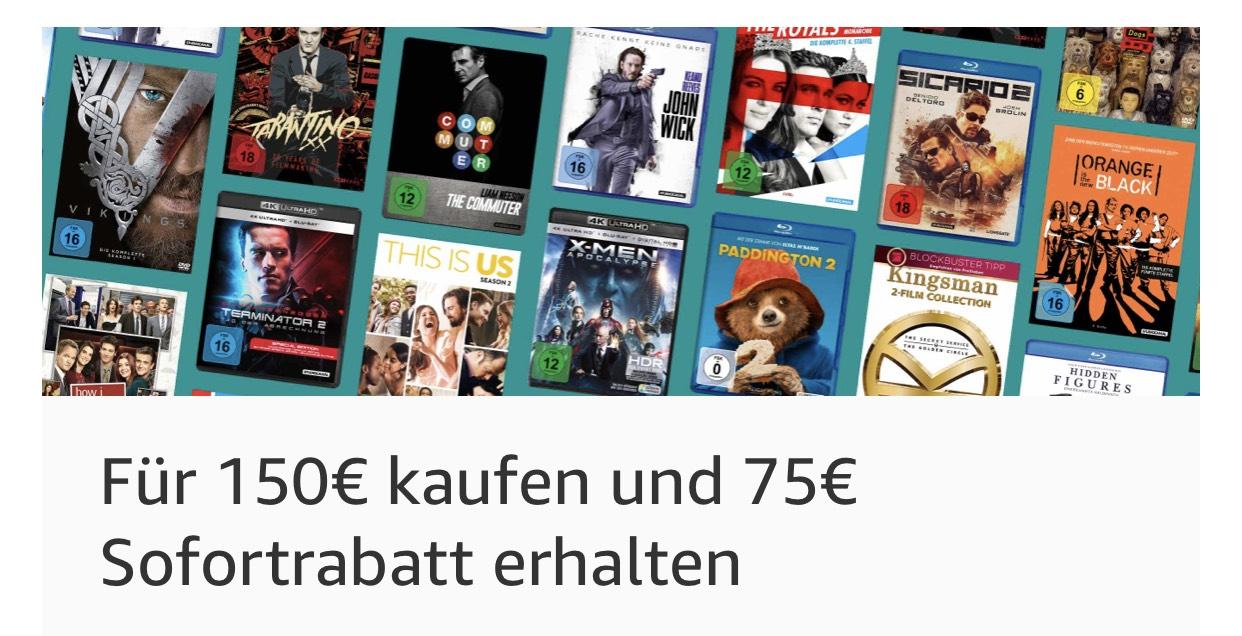 Amazon.de 4K Ultra Hd Blurays für 150€ kaufen u direkt 75€ Rabatt