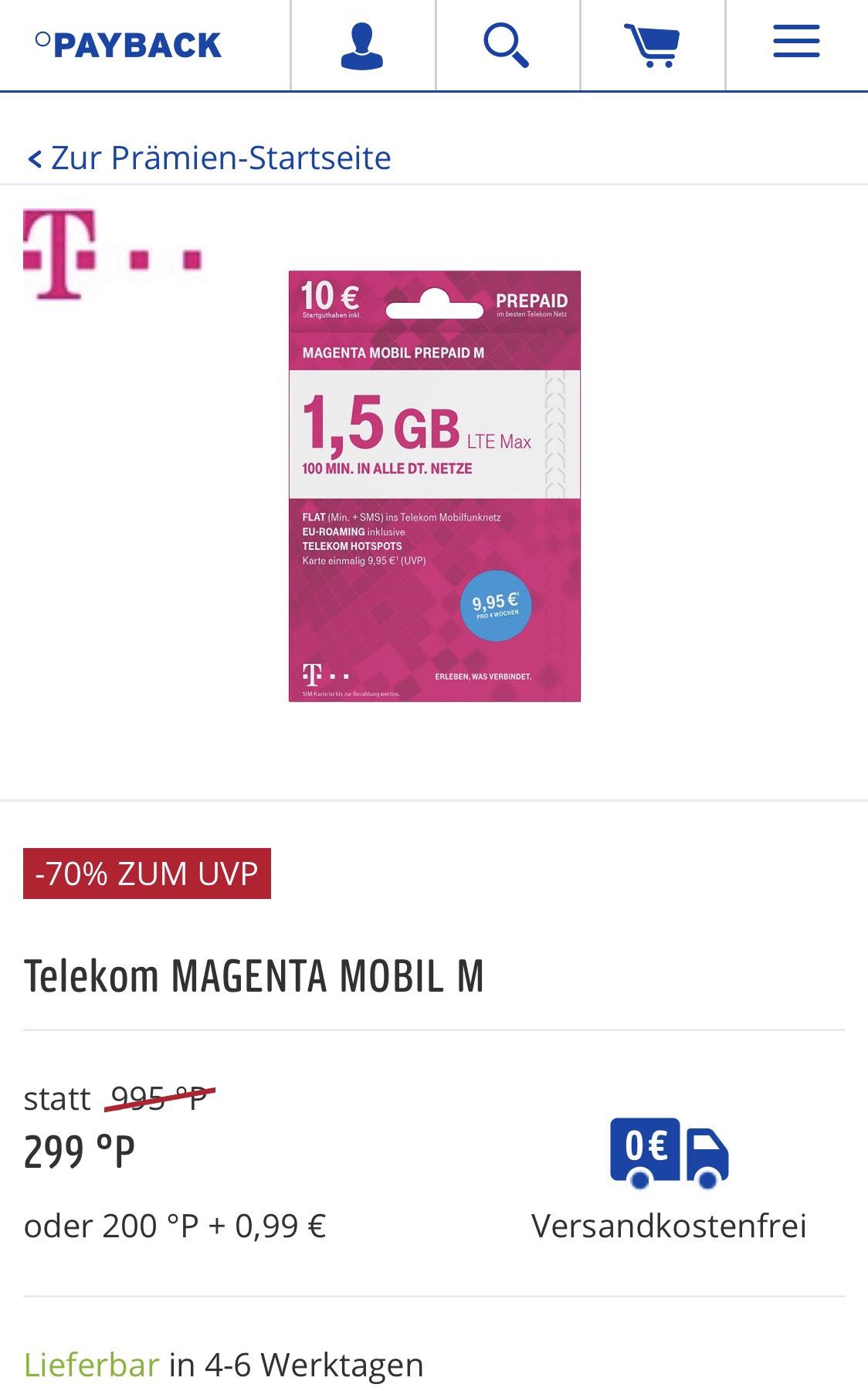 Telekom MAGENTA MOBIL M 1,5 GB mit 10 € Startguthaben