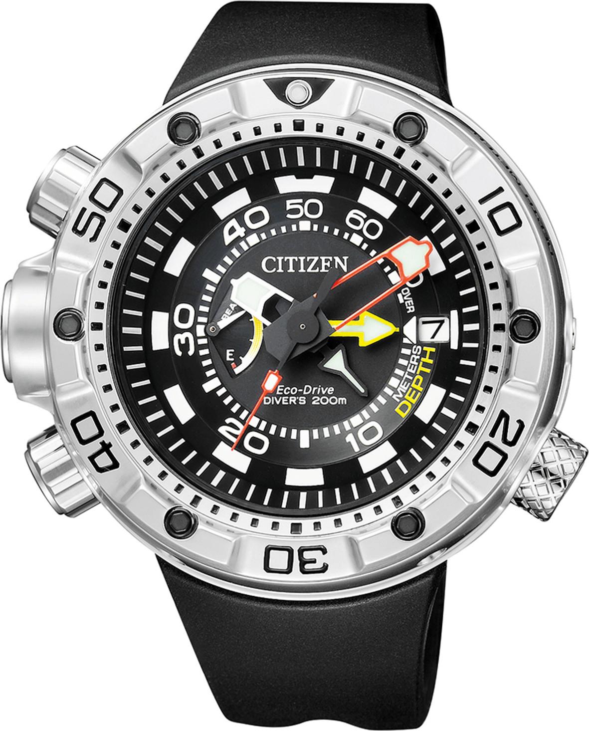 Tauchuhr Citizen Aqualand Promaster Marine BN2021-03E (Tiefenmesser, Wassersensor, Tauchtiefenalarm, Auftauchalarm, Ecodrive) [Amazon.es]
