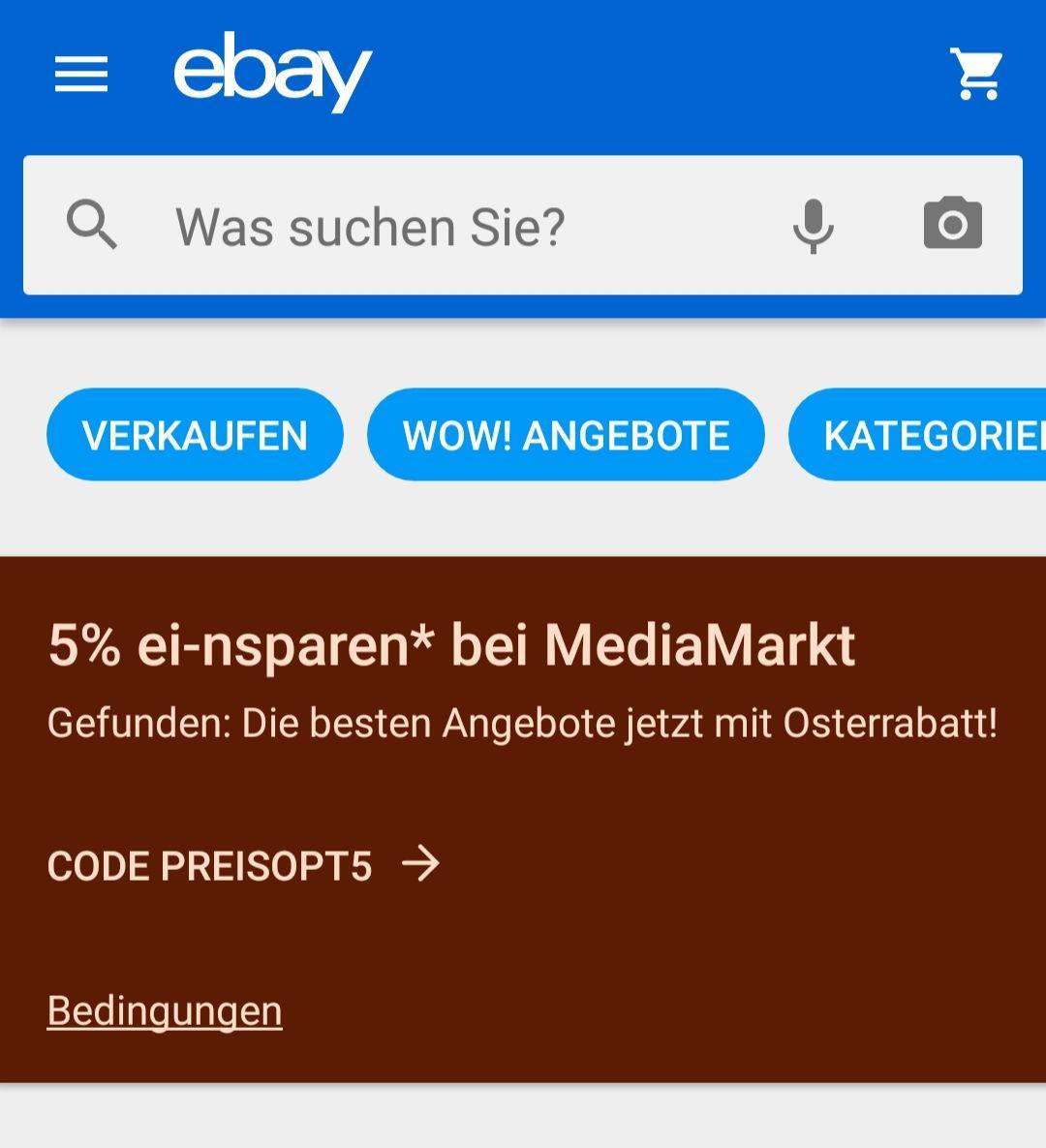 5% Gutschein für Mediamarkt-Produkte über eBay!