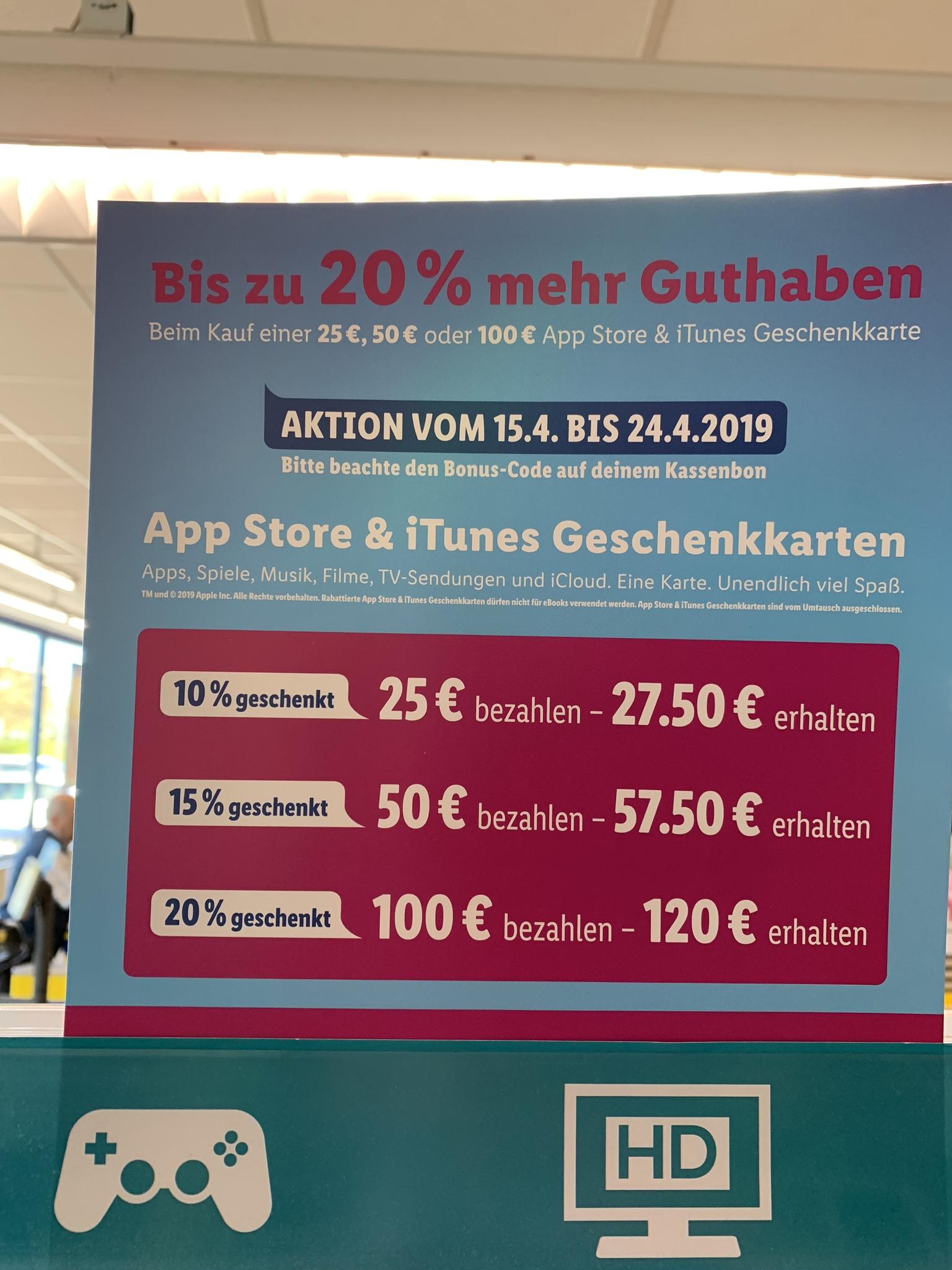(Lidl Bundesweit, nur offline?) AppStore & iTunes Geschenkkarten 10% 15% 20% zusätzlich