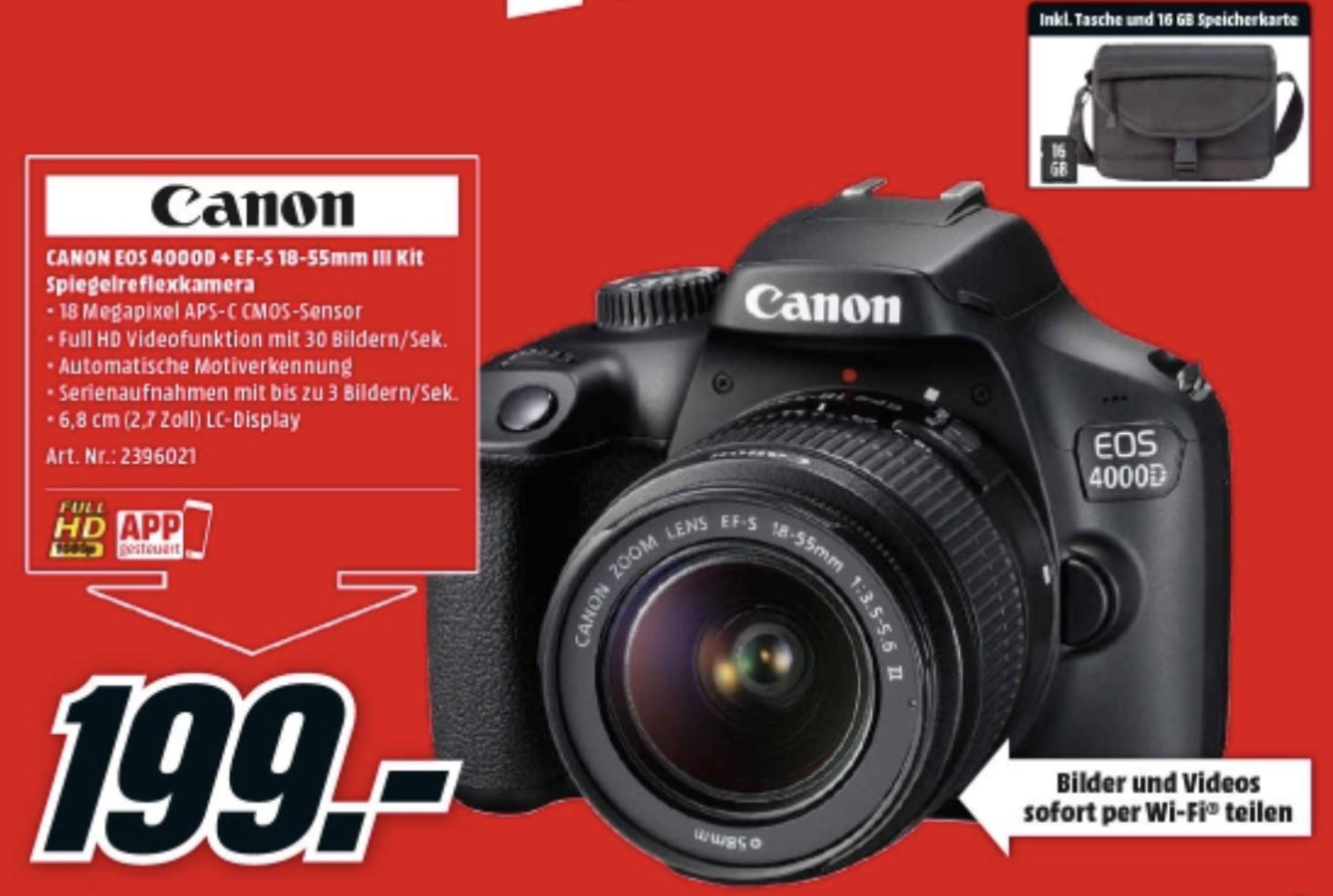 CANON EOS 4000D EF-S 18-55mm III Kit inkl. Tasche und Speicherkarte Spiegelreflexkamera, 18 Megapixel, Full HD für 199€
