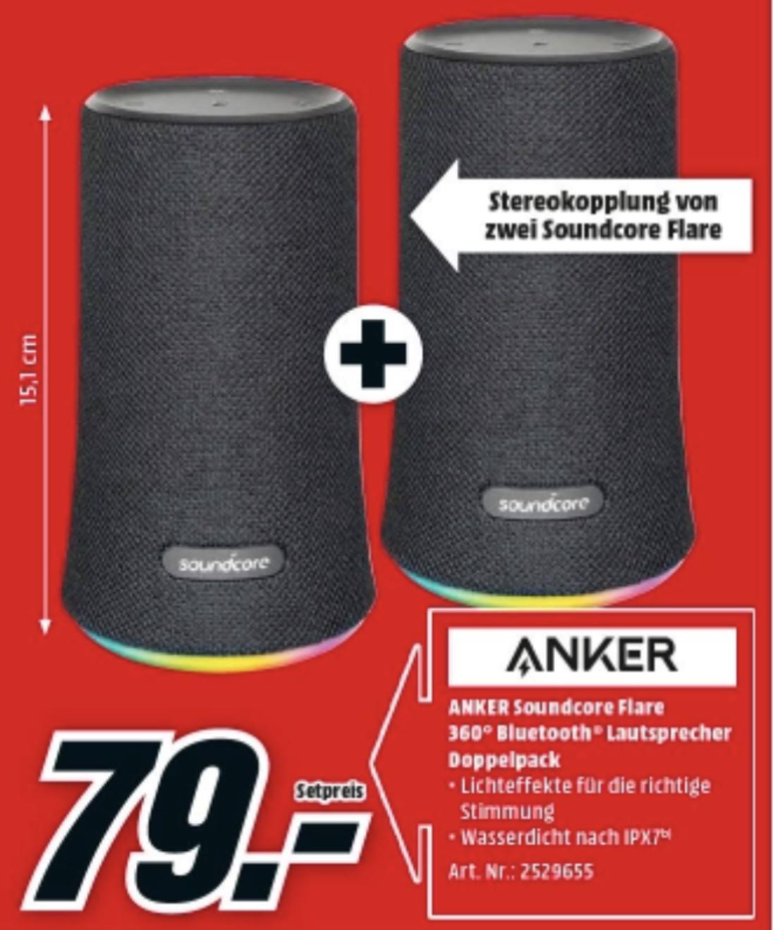 DOPPELPACK ANKER Soundcore Flare 2 Stück Bluetooth Lautsprecher 360° Sound Stimmungs-LED-Licht IPX7 Wasserdicht für 79€ bei Abholung