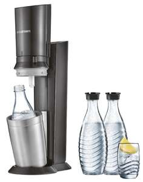 SodaStream Crystal 2.0 titan, 3x SodaStream 0.6-Liter Glaskaraffe spülmaschinenfest, 1x 60 l-Kohlensäurezylinder   85€ mit Masterpass