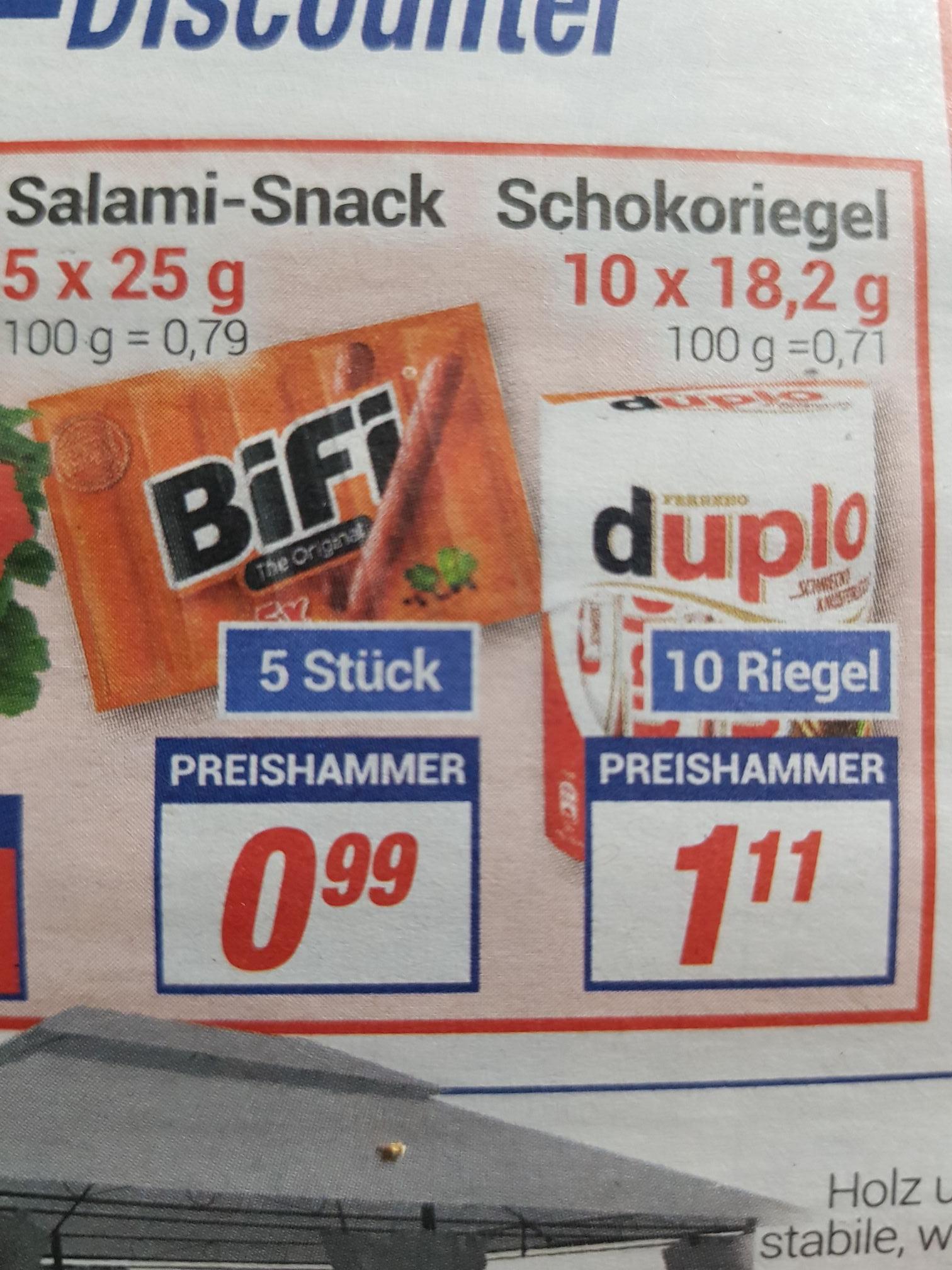 Duplo Schokoriegel 10er Pack / Bifi Salami Snack 5er Pack