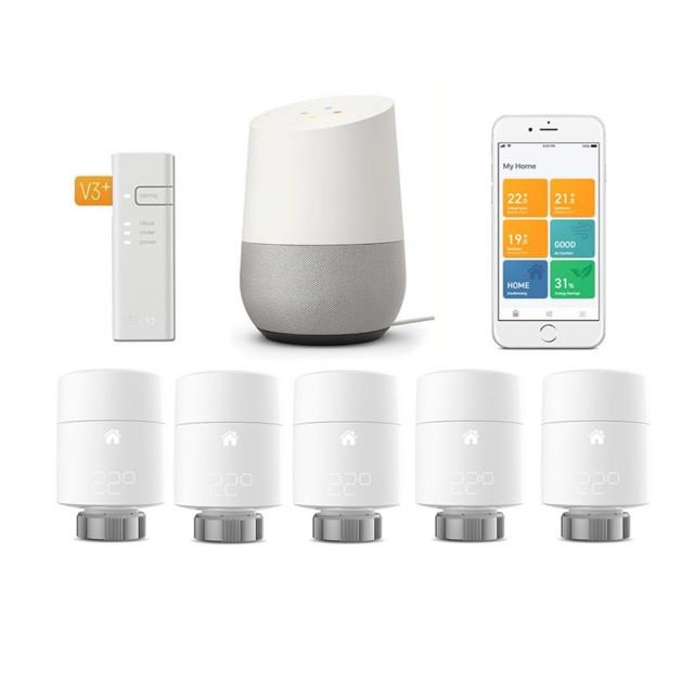 tado° Smartes Heizkörper-Thermostat Starter Kit V3+ mit 5 Thermostaten & Bridge + Google Home