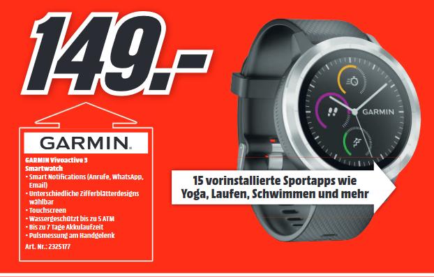 [Lokal: Media Markt Gütersloh & Lippstadt] GARMIN vívoactive 3 Smartwatch (GLONASS, NFC, ANT+, GPS) |  Fischer MONTIS 2.0 für 999€