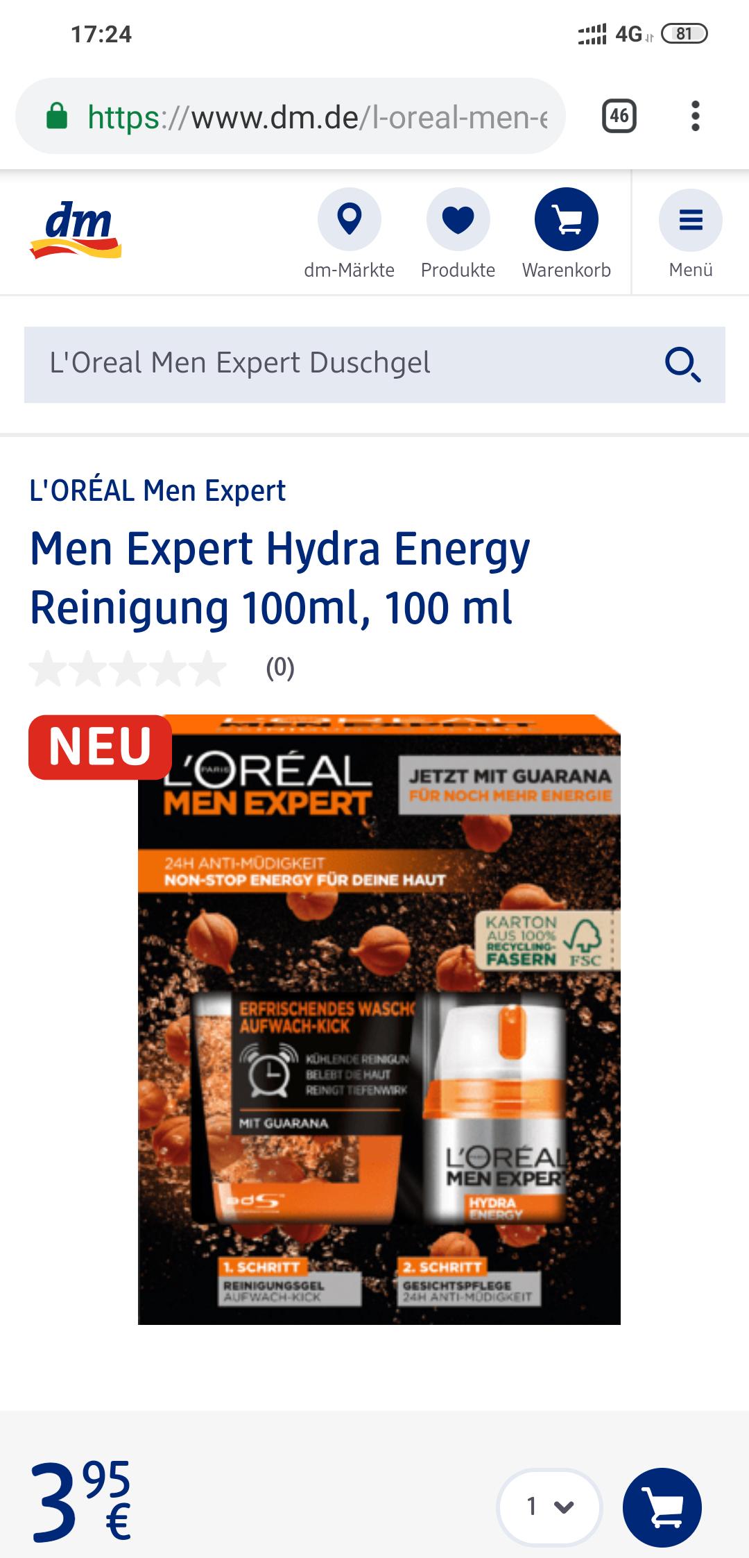 [dm] L'Oréal Men Expert Reinungsgel + Gesichtspflege (Fluid)