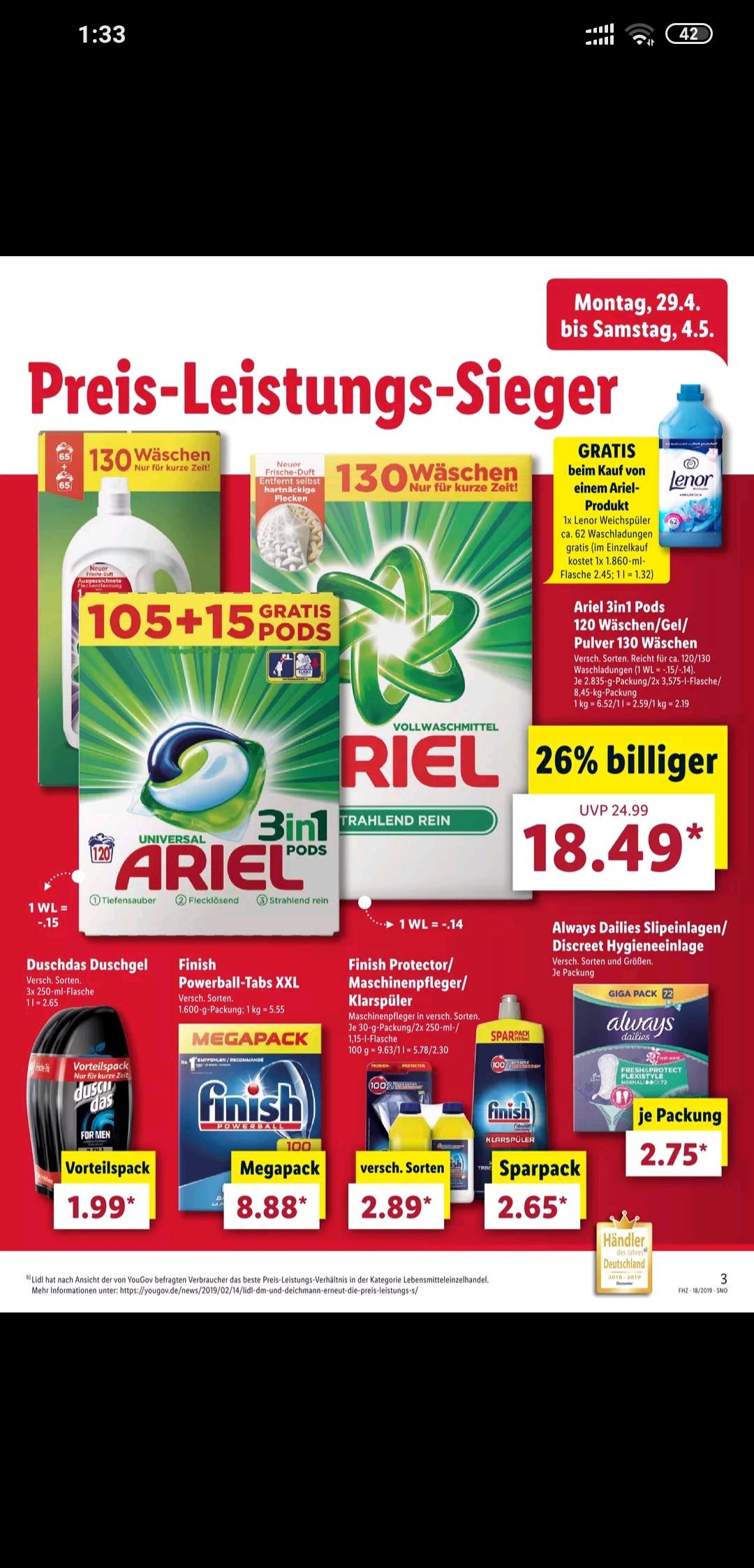 [Lidl offline] *ab 29.04* Ariel Pods 120 Stück macht 14 Cent pro Wäsche (Bestpreis) Gratis Weichspüler von lenor (Wert: 2,5€)