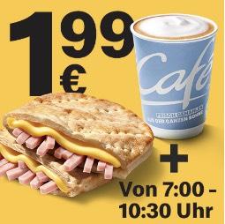 [McDonalds] McToast Ham & Getränk für 1,99€