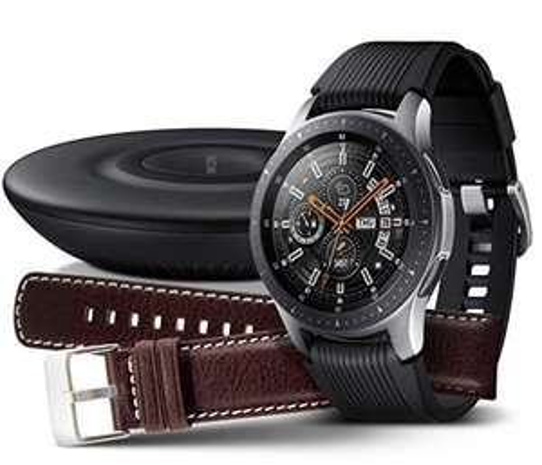 Samsung Galaxy Watch 46mm Bundle, silber + Charger und Lederarmband