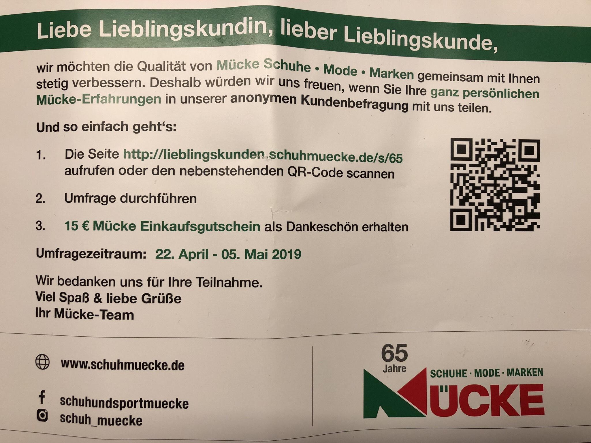 [Schuh Mücke offline] Umfrage - 15 € Gutschein ab 30 € Einkauf