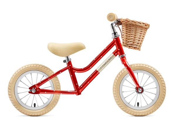 """Laufrad Creme Mia (rot oder pistaziengrün, Stahlrahmen und -gabel, Alufelgen, Alulenker, 12""""-Reifen, verstellbare Sattelstütze, 4.6kg)"""