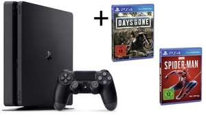 PS4 1TB Slim inkl. Spider Man & Days Gone (Real)