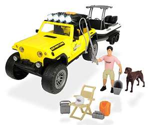 Dickie Toys 203838001 - Playlife Fishing Set, Jeepster Commando Geländewagen mit Boot + Figuren, 41 cm