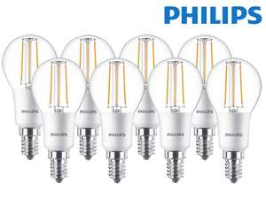 8x Philips dimmbare LED Classic E14-Leuchtmittel (5 Watt, 470 Lumen, 2700 K) [iBOOD]