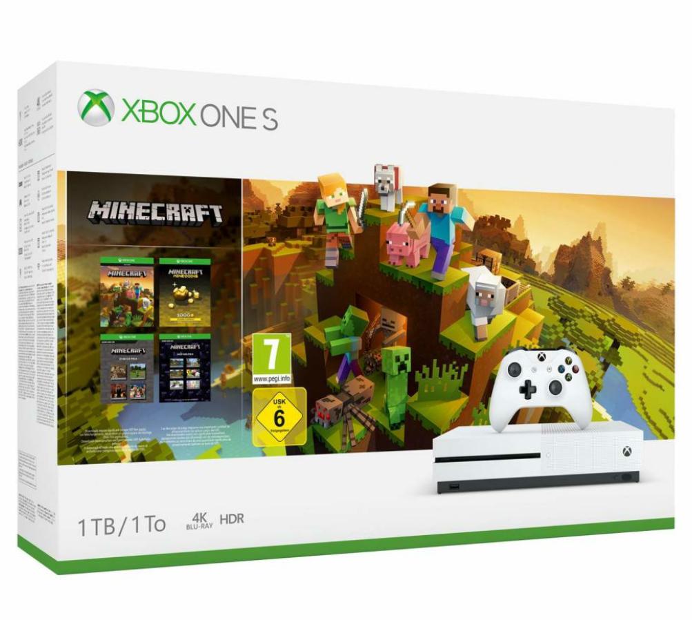 Microsoft Xbox One S 1TB inkl. Controller in weiß – Minecraft Creators Bundle