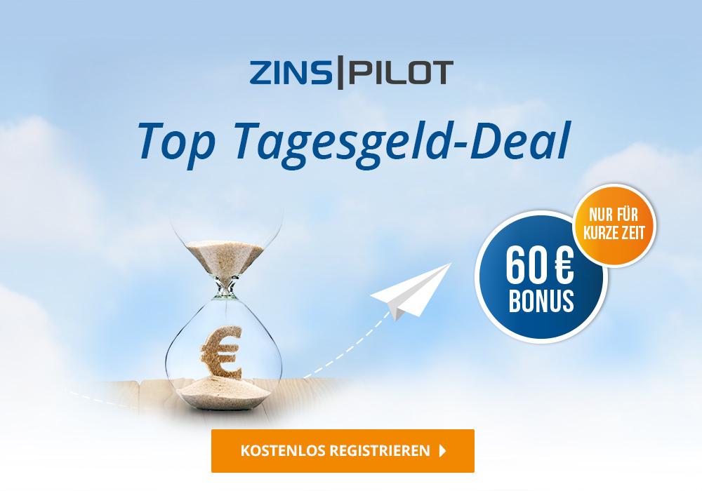 Zinspilot NEUKUNDEN: 60,00 € Bonus bei lediglich 250,00 € Mindestanlage