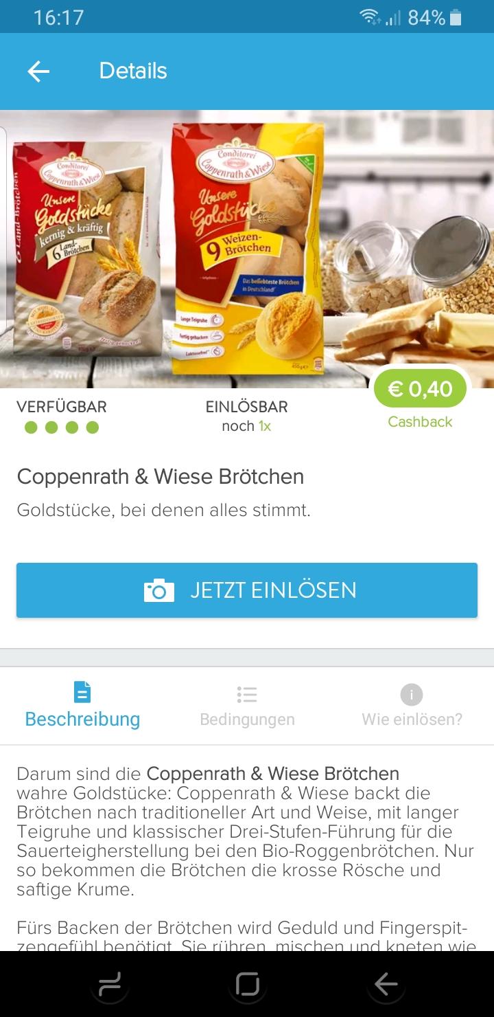 *Marktguru* Coppenrath & Wiese Goldstücke Brötchen 0,40€ Cashback