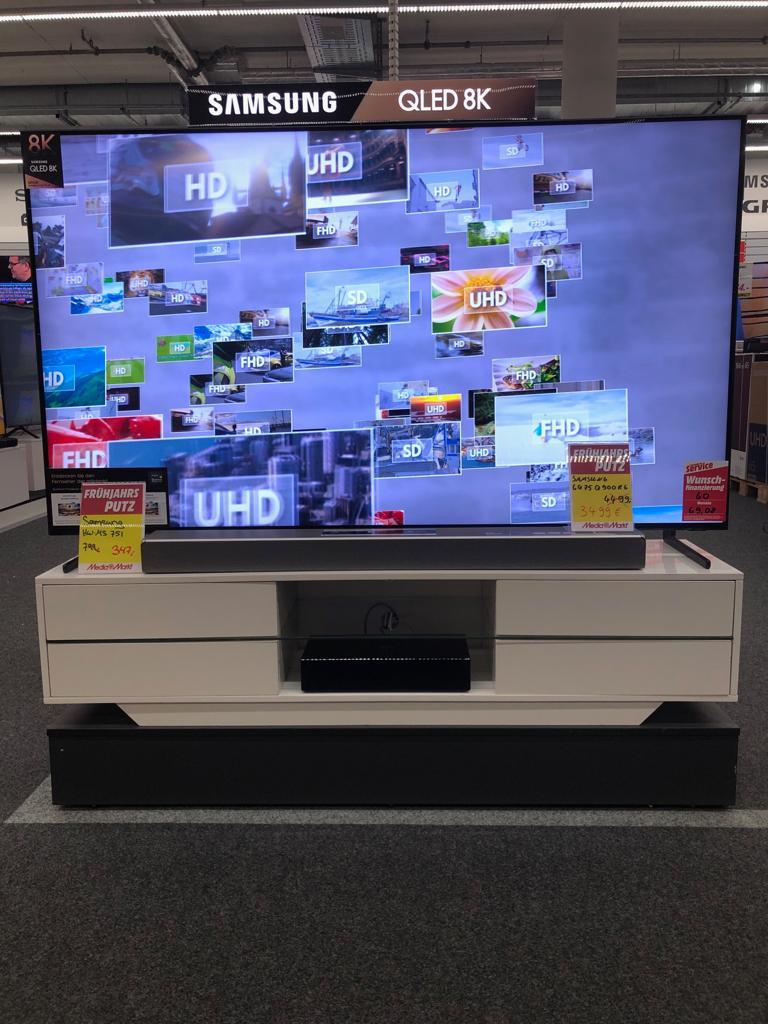 Samsung GQ75Q900R TXZG 75 Zoll Fernseher (8K Ultra HD Q HDR 3000) Smart-TV für 3499,- statt 4498,80  (Mediamarkt Meppen, Versand möglich)