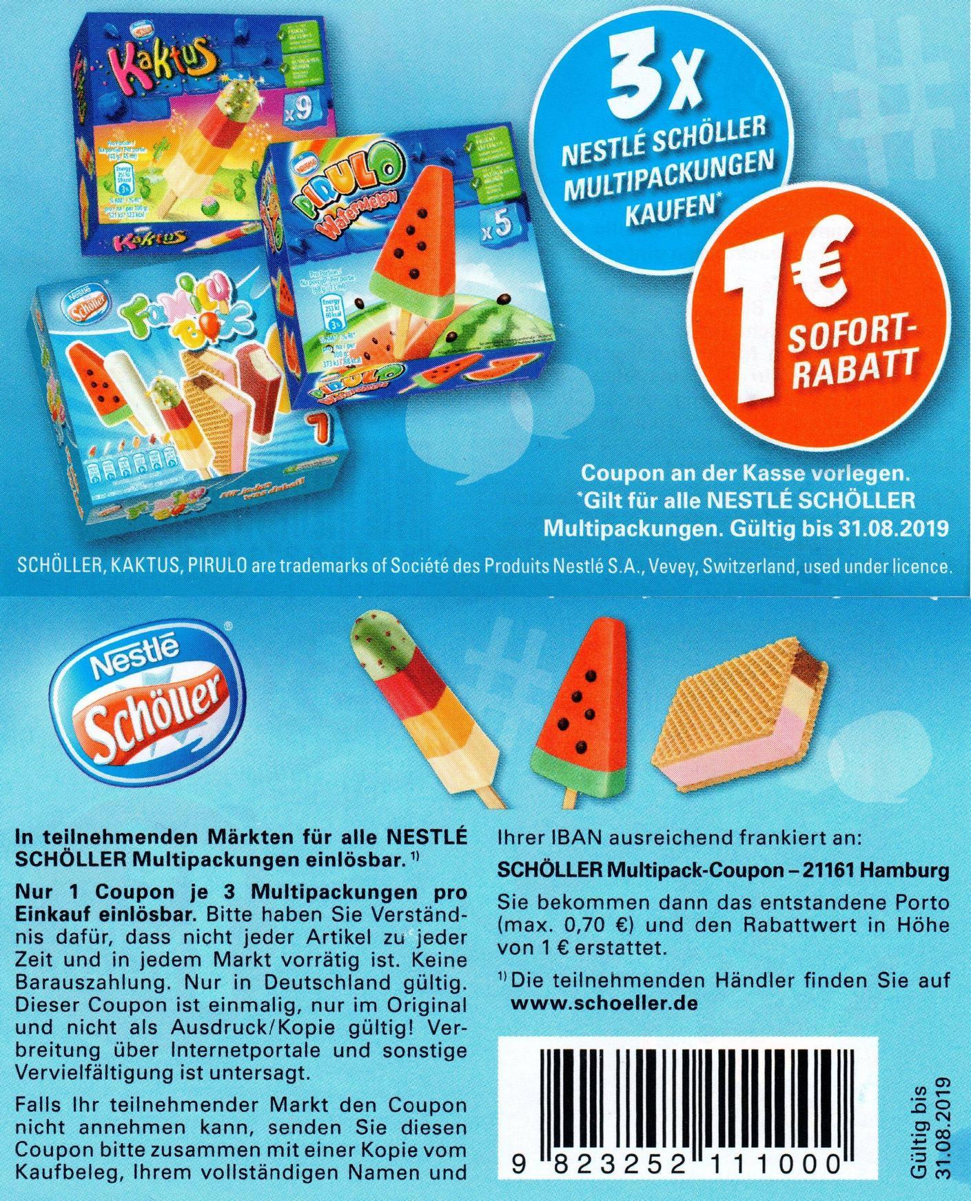 1€ Rabatt Coupon für den Kauf von 3x Nestlé Schöller Multipackungen bis zum 31.08.2019