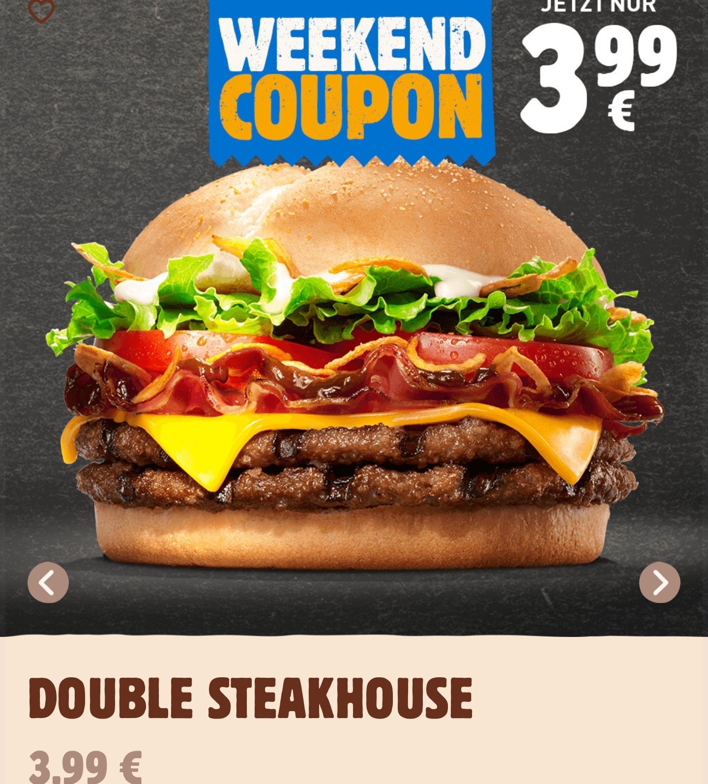 [Burger King App] Double Steakhouse für 3,99€