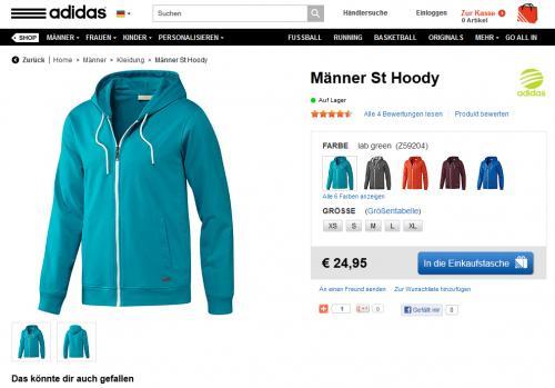 Adidas Neo Hoody für 24,95€ +15% bei Newsletter anmeldung + 10% Qipu Cashback ohne Versandkosten