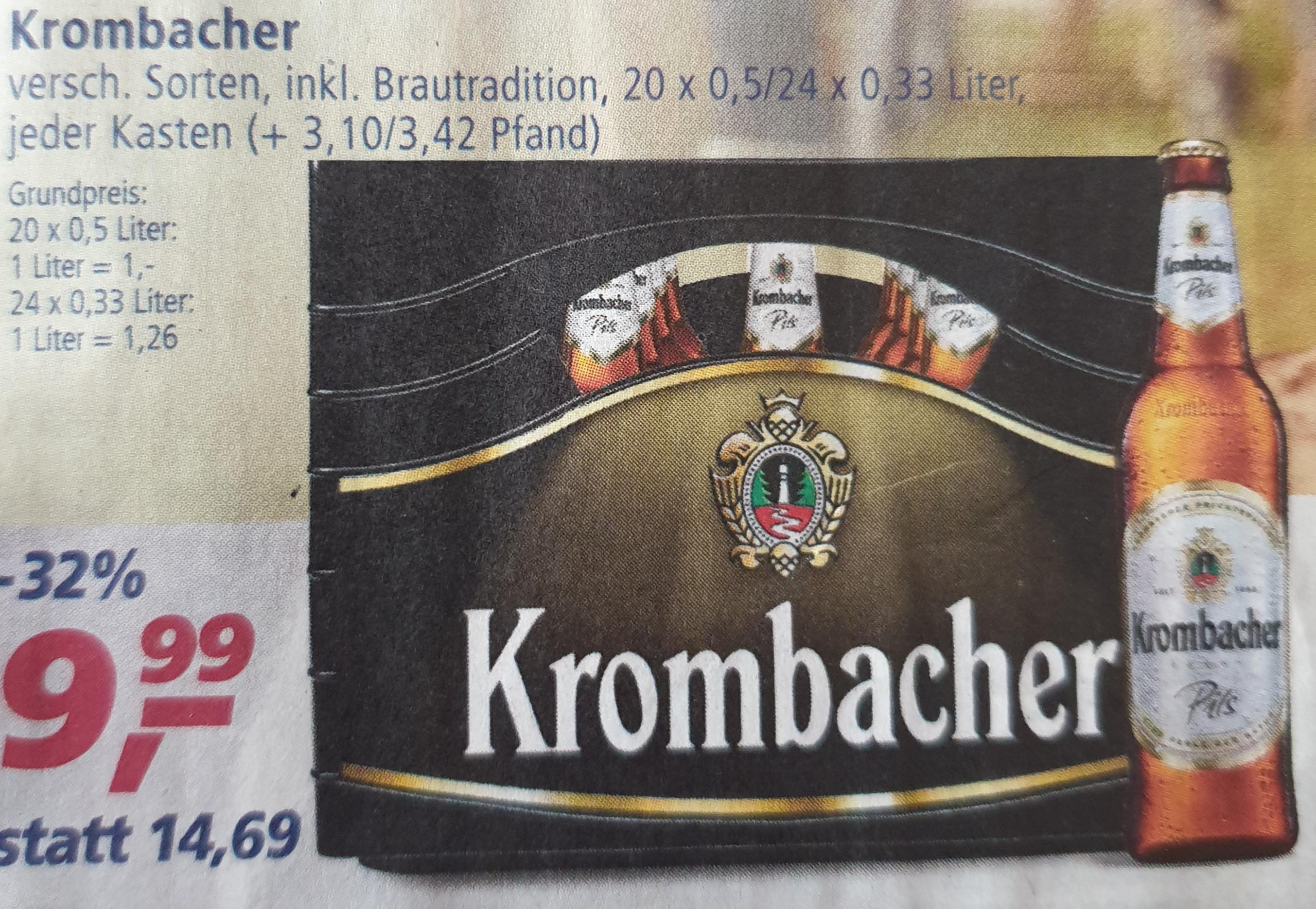[ Real + Marktguru App ] Krombacher 20*0,5 L oder 24*0,33 L ( mit 1€ Cashback nur 8,99€ )