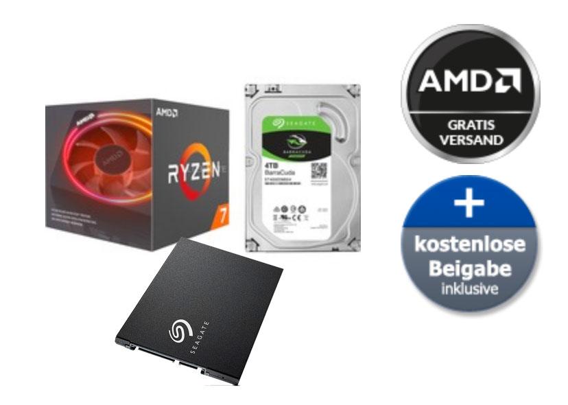AMD Ryzen 7 2700X + inkl. Seagate BarraCuda SSD 250 GB + Seagate BarraCuda 4 TB Festplatte (Paydirekt)