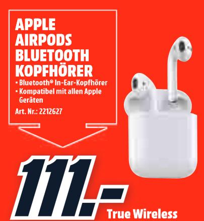 [Lokal: Media Markt Amberg am 28.04. 13-18 Uhr] Apple AirPods 1st gen   iPhone SE 32GB @199€   Dyson V8 Absolute @299€ u.a.