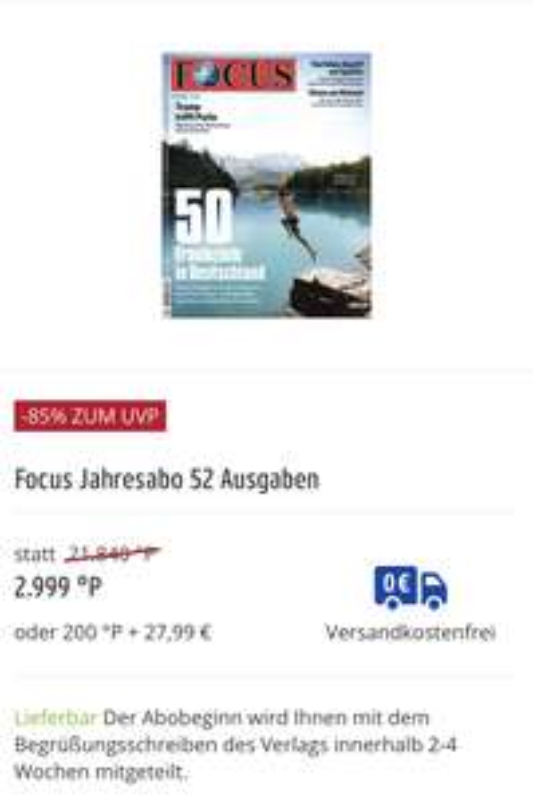 Focus Zeitschriften Jahresabonnement