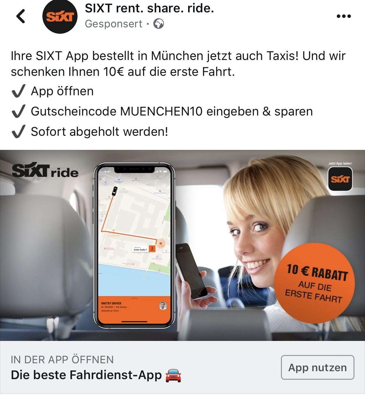 Lokal München- 10€ erste Fahrt mit Sixt Taxi App