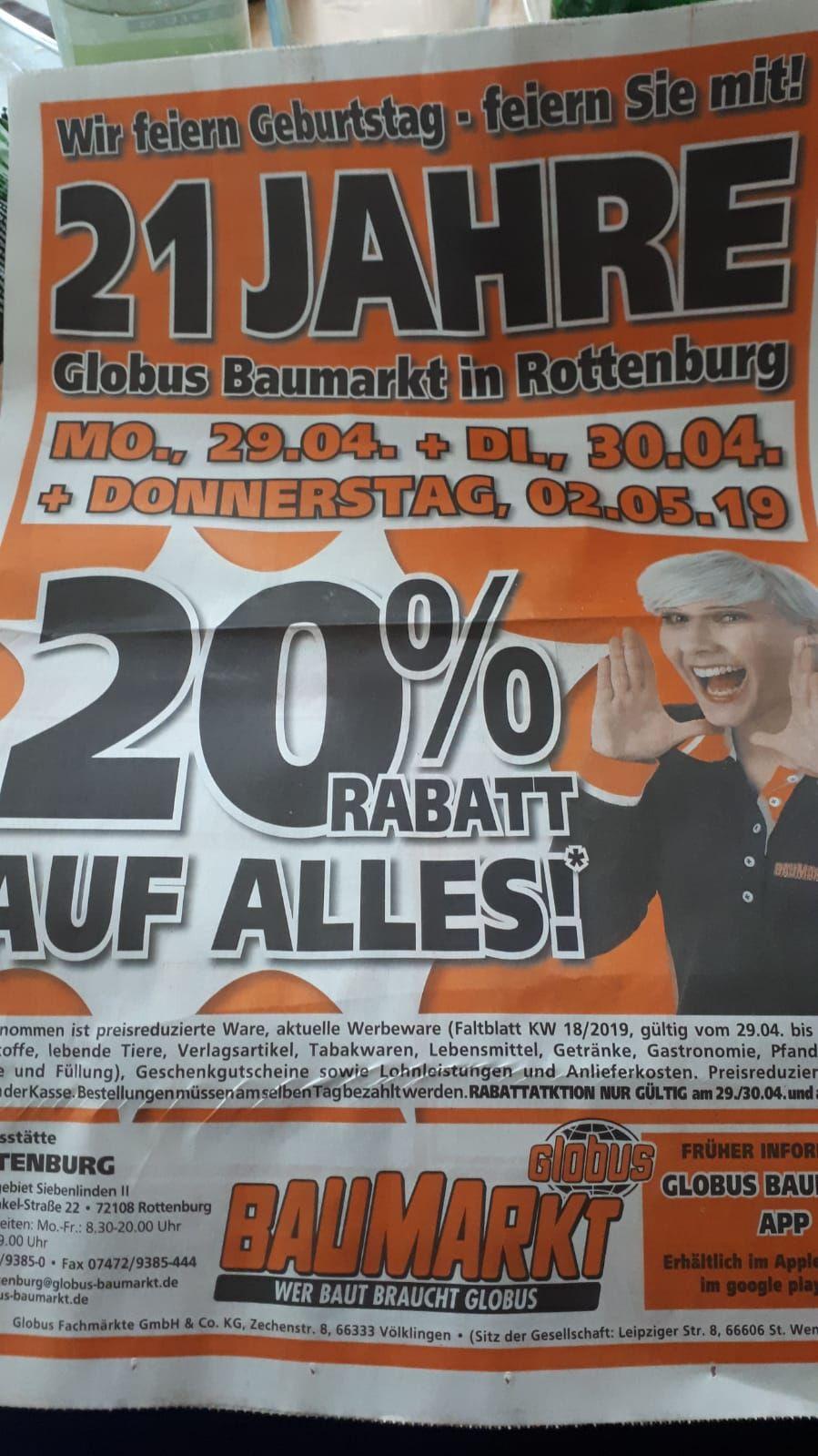 [Lokal Rottenburg a. N.] 20% beim Globus Baumarkt am 29.4. , 30.4. und 2.5.2019
