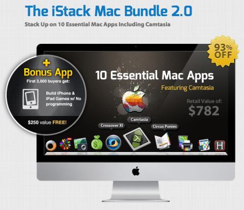 iStack Mac Bundle 2.0 mit Camtasia 2 und CrossOver XI für nur 49.99$ (39,06€) - satte 93% Ersparnis