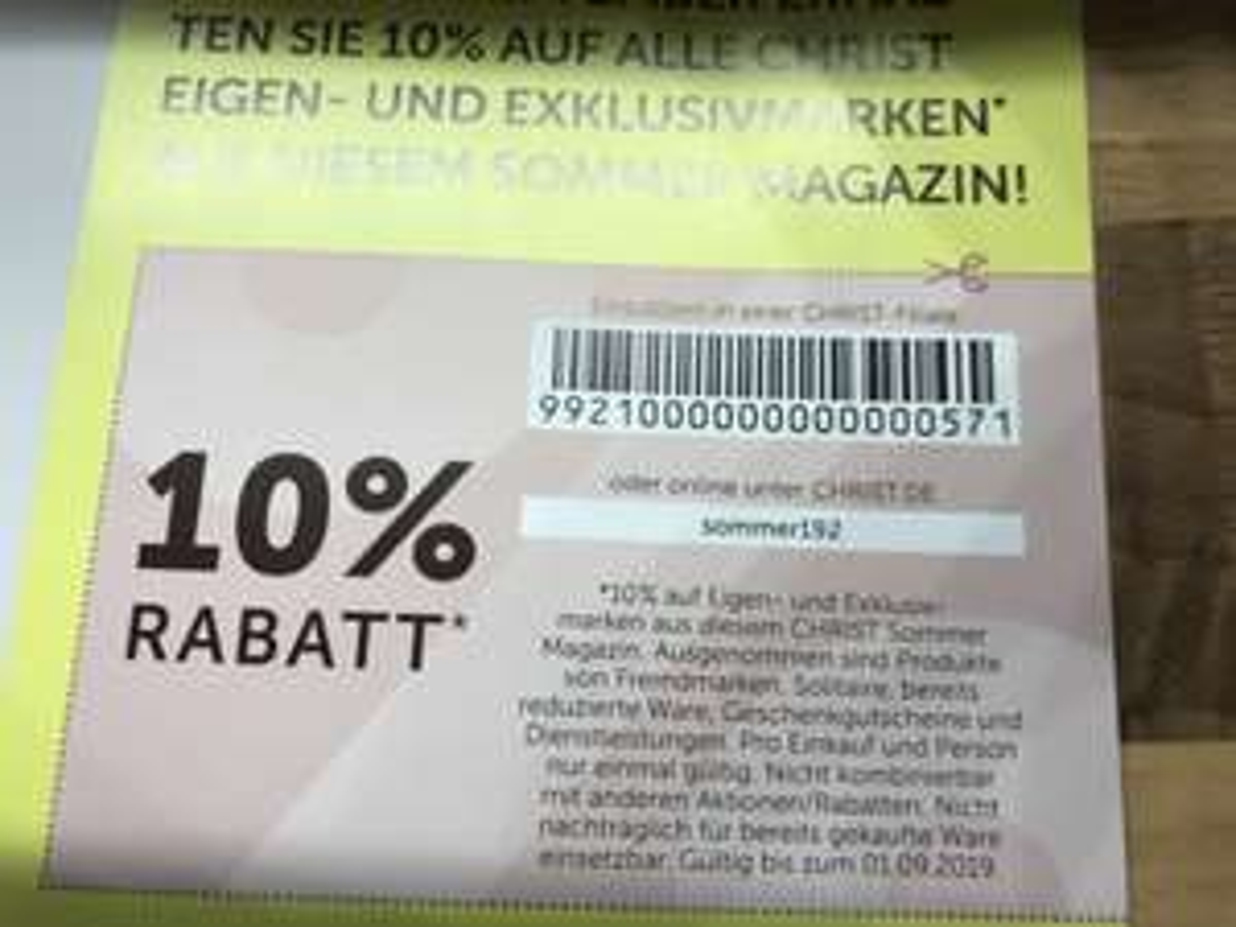10% Rabatt auf Christ Eigenmarke