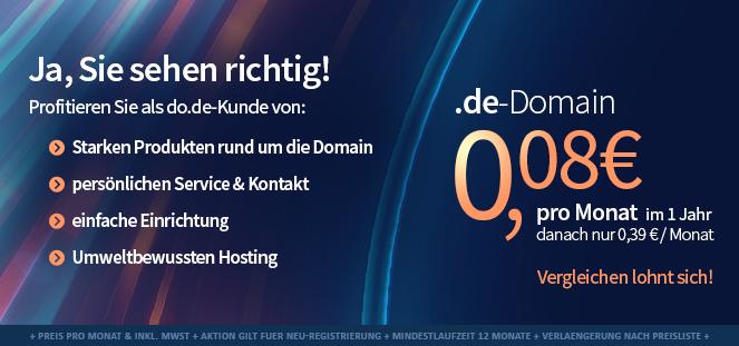 do.de Aktion: .de Domain für 0,96 € im ersten Jahr, danach 4,68 € / Jahr