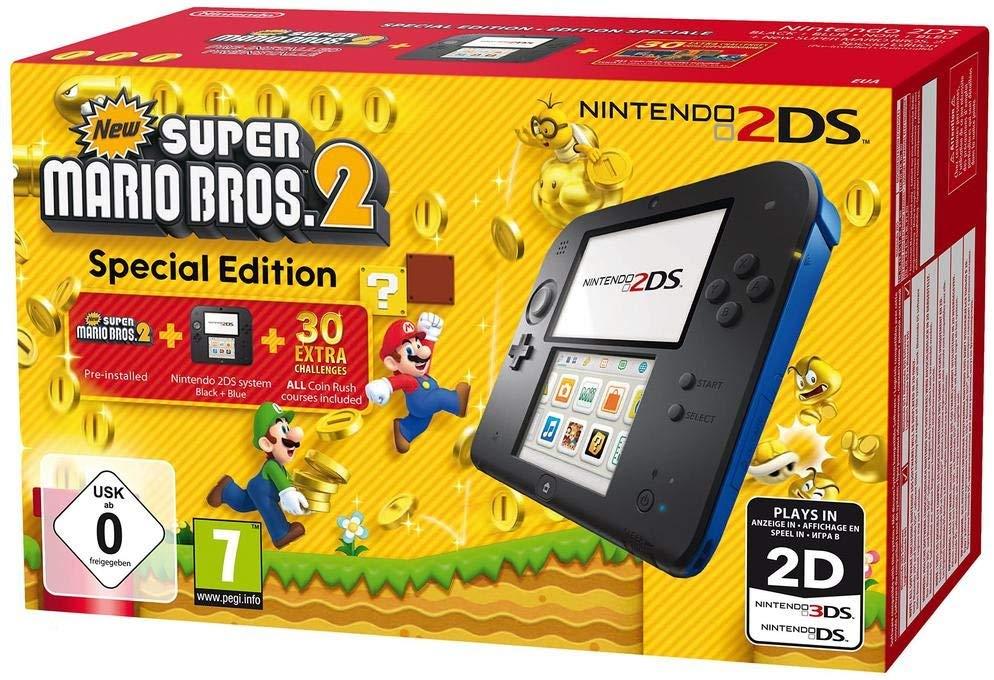 Nintendo 2DS schwarz-blau + New Super Mario Bros. 2 - Special Edition (Amazon.fr)