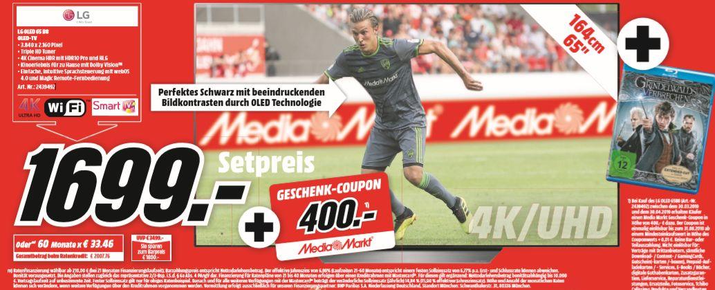 [Regional Mediamarkt Rensburg]  LG OLED65B8LLA OLED-Fernseher (65 Zoll), 4K Ultra HD + 400€ Coupon + Grindewalds Verbrechen für 1699€