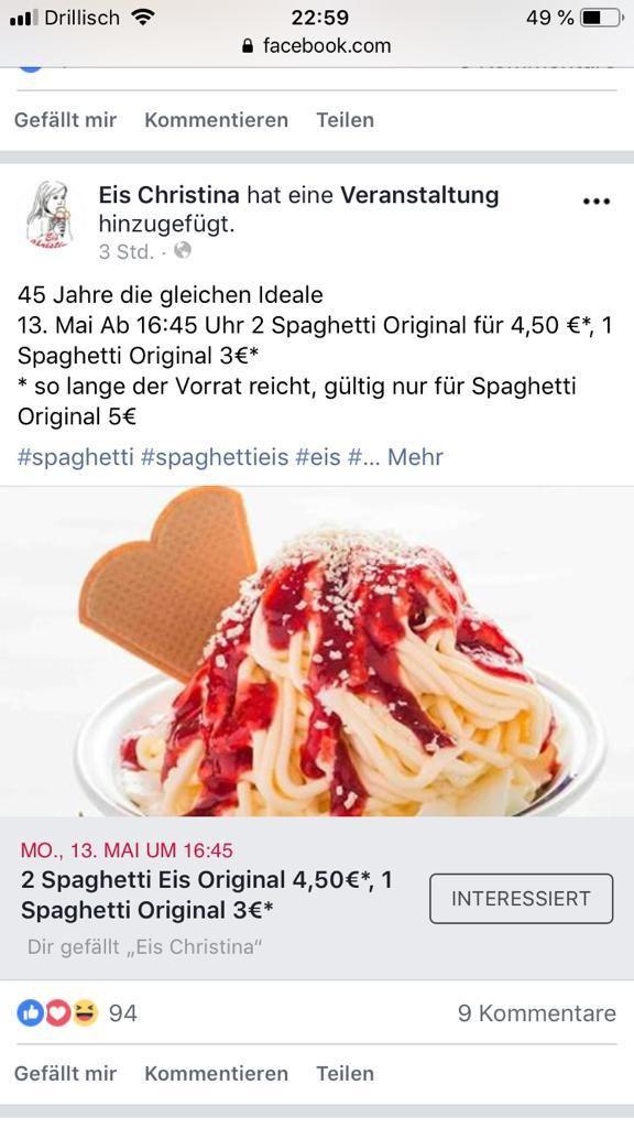 [Frankfurt] 2x Spaghetti-Eis für nur 4,50€, statt 10€ oder 1x für 3€ bei Eis Christina am 13.5.19