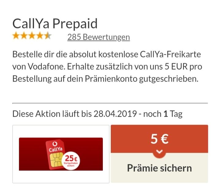 [Spartanien - CallYa-Freikarte von Vodafone] 5€ Prämie pro Bestellung