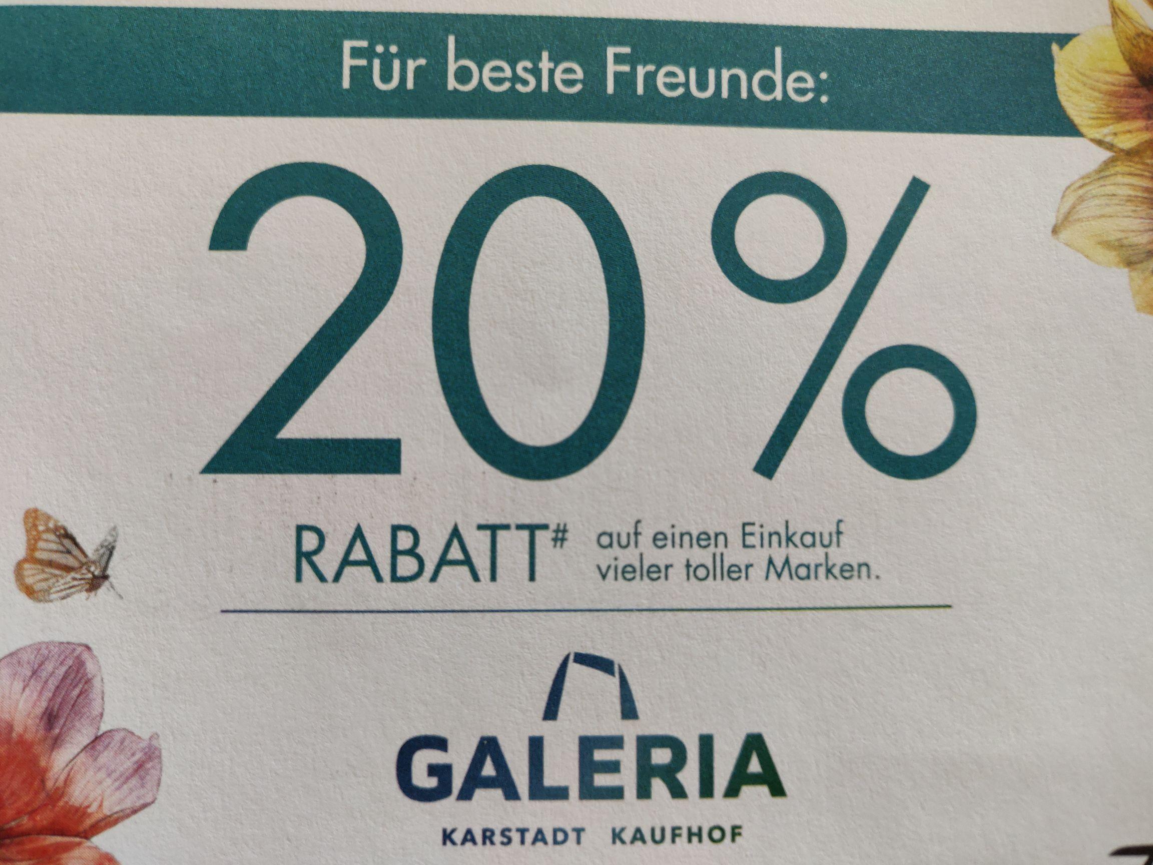 Galeria Kaufhof / Karstadt 20% Rabatt (online)
