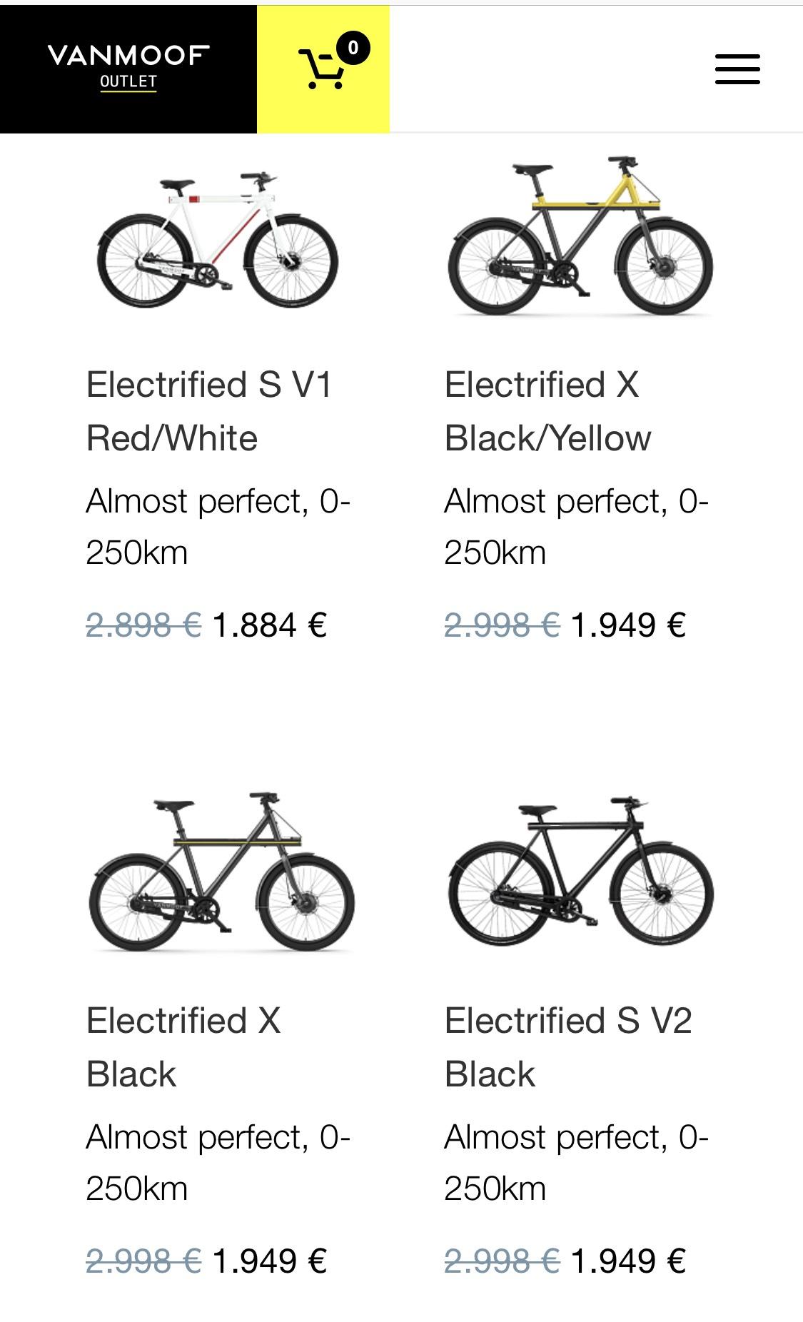 VanMoof Outlet 10 - 35% Rabatt (gebrauchte/retournierte Bikes)