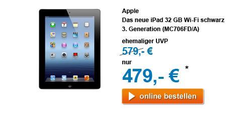 """(Euronics) iPad 3. Generation 32GB Wi-Fi - weiß und schwarz (auch Macbook Air 11"""" für 904,95 Euro)"""