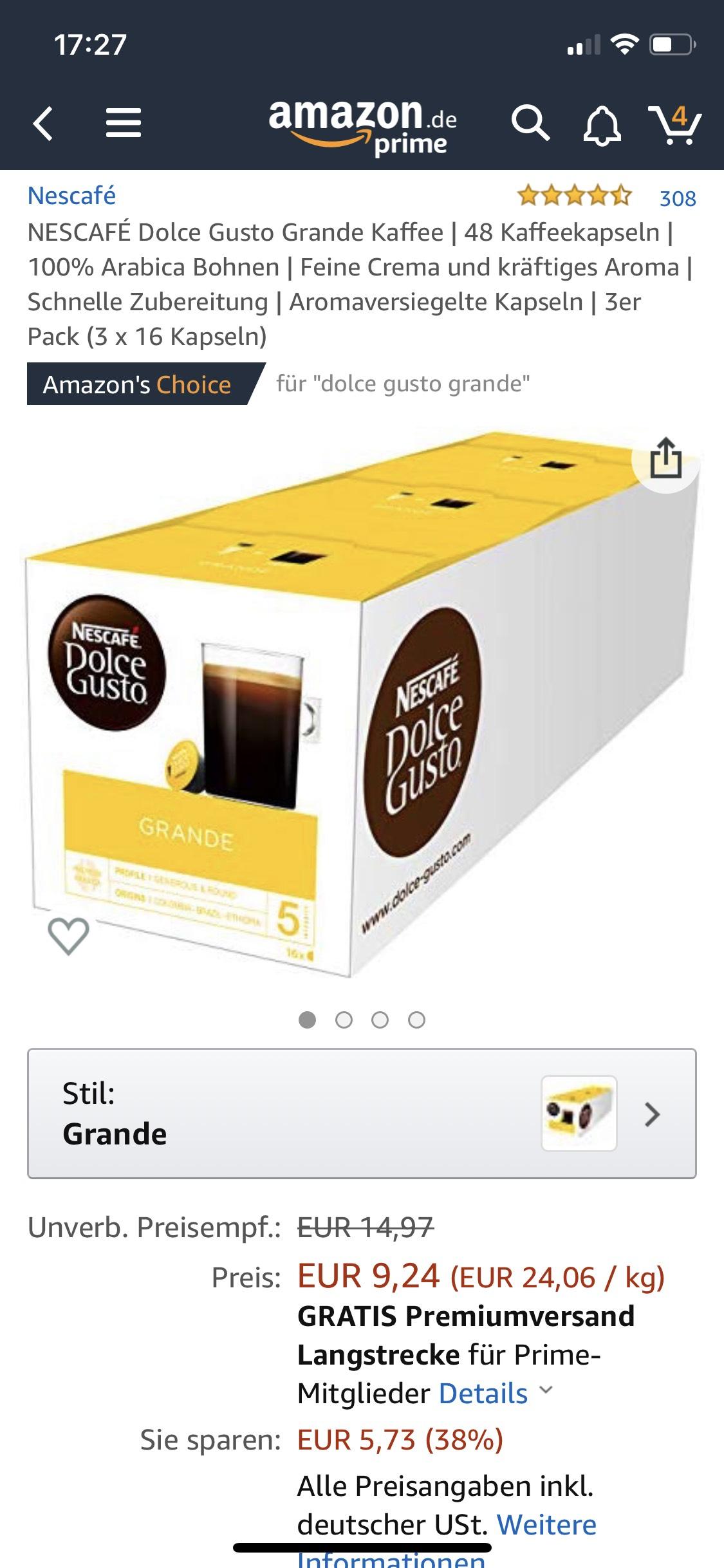 Amazon Prime only: NESCAFÉ Dolce Gusto Grande Kaffee | 48 Kaffeekapseln | 3er Pack (3x16 Kapseln)
