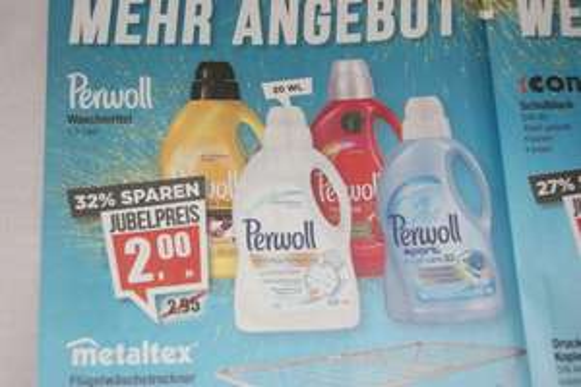 PERWOLL-Waschmittel für sehr günstige 2 Euro (20 WL) bei Mäc-Geiz bundesweit ab 29.4.