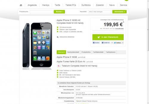 iPhone 5 16GB ab €199,95 mit €100,- iTunes Gutschein