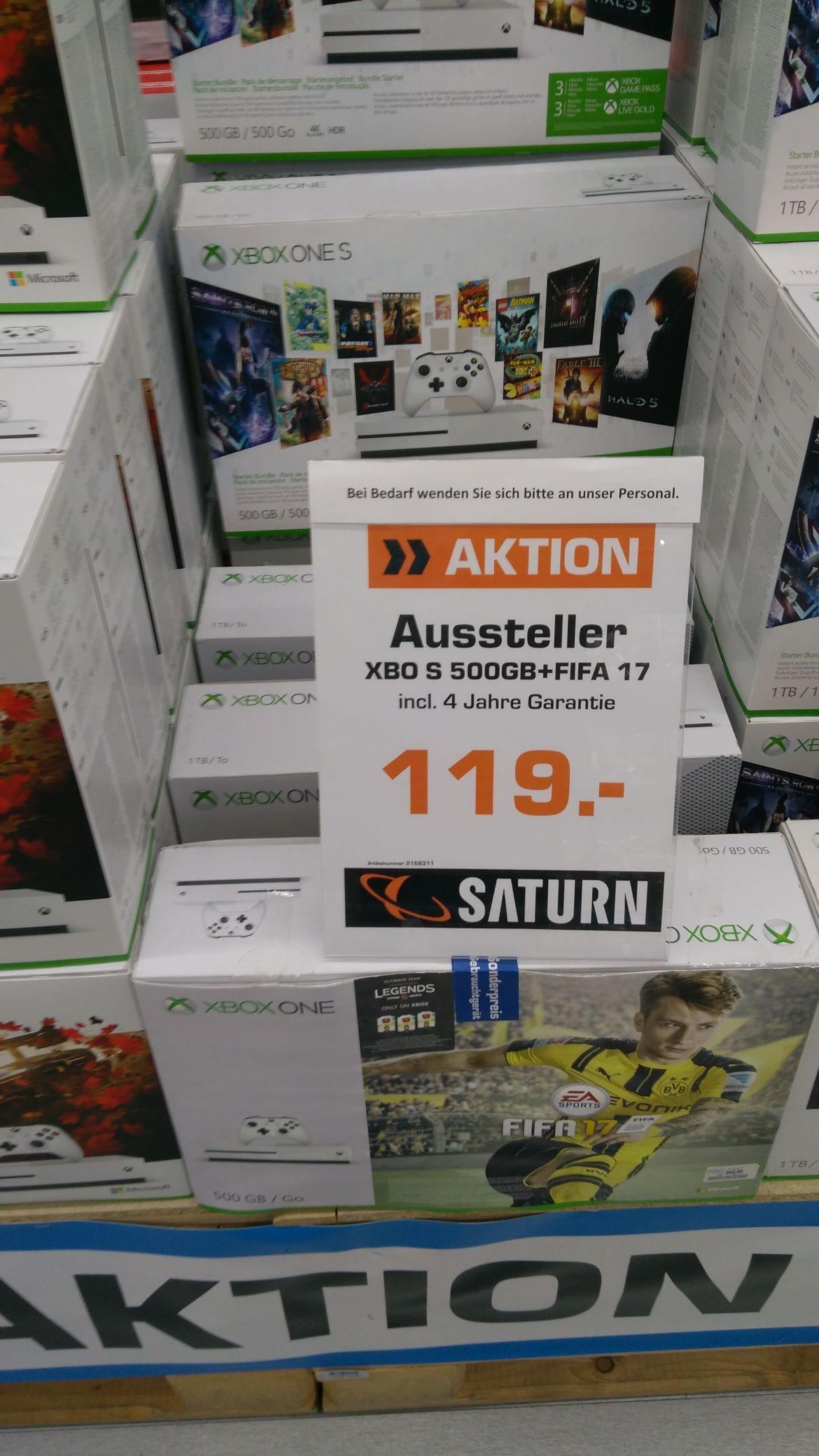Lokal Ingolstadt Saturn xBox one S 500gb + Fifa 17 inkl.4Jahre Garantie