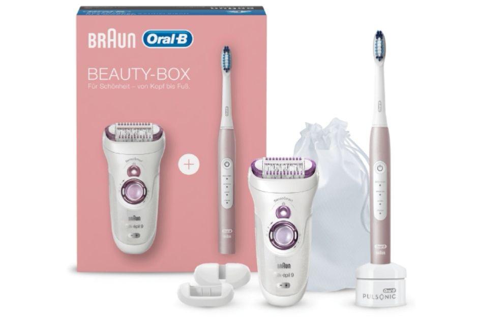 BRAUN & Oral-B Beauty Box Epilierer und Schallzahnbürste Weiss/Pink