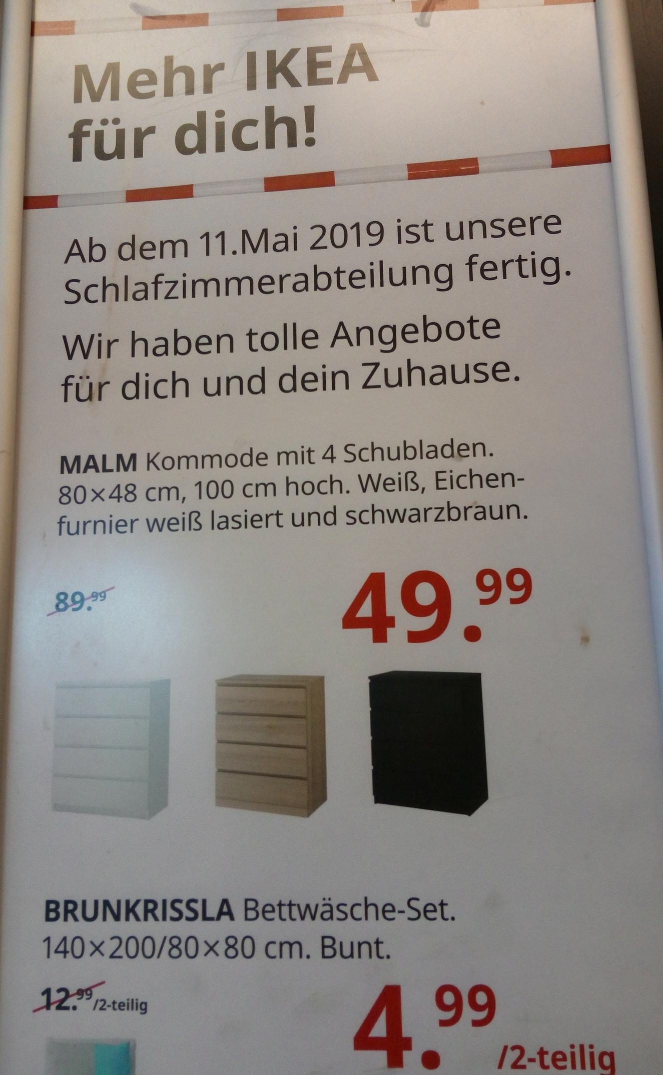 nur IKEA Berlin Spandau:   MALM Kommode 80x48, 100cm hoch mit fast 45% Rabatt für 50€ statt 90€